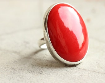 Red Coral ring - Oval ring - Rings for women - Red stone ring - Sterling silver gemstone ring - Gift for her