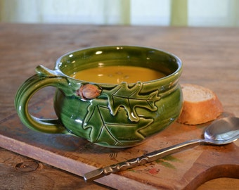 Made to order Soup mug ceramic, oak acorn, cappuccino chili bowl, glazed in green or brown, handmade stoneware by hughes pottery