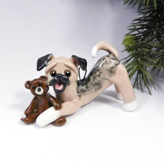 Puggle Christmas Ornament Figurine Teddy Bear Porcelain