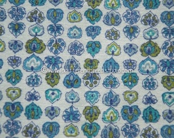 Little Atomic Leaves - Vintage Fabric Full Feedsack 50s 60s Novelty Purples Blues Avocado Green