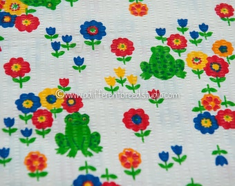 MOD Frogs and Flowers - Vintage Fabric Juvenile Novelty Seersucker Tulips Daisies 70s