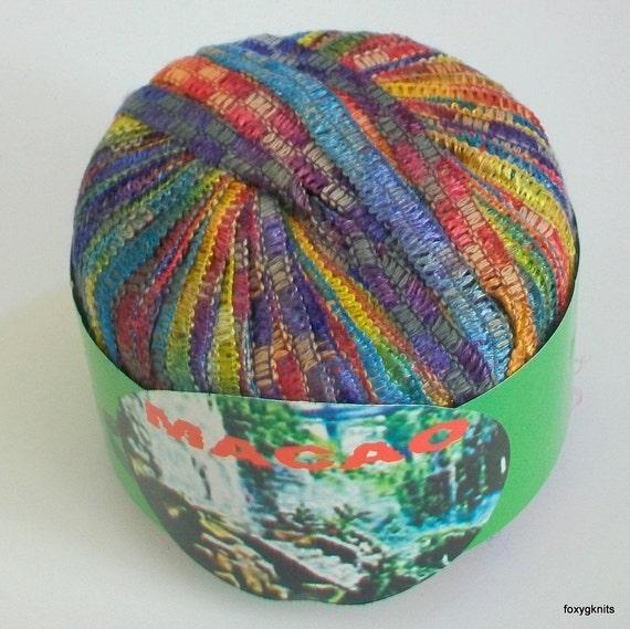 Ribbon Yarn Knitting Patterns : Items similar to Ribbon Yarn Knitting Fever Macao Multi-color #518 - destash ...