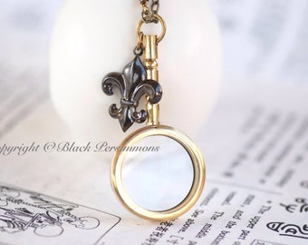 Magnifying Glass Necklace - Pendant Steampunk -  Insurance Included