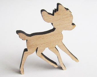SUPER CUTE PROMO : Wooden Fawn Deer Brooch