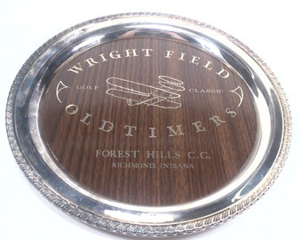 Vintage wright field Forest Hills cc  indiana oldtimers golf classic golf trophy silverplated vintage golf