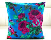 magenta pink blue green purple mint roses cushion cover ,16 inch decorative pillow cover