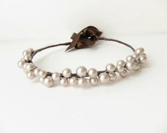 Silver pearl bridal hair accessory, Wedding large pearl headband, Bridal tiara, Whimsical pearl crown, Pearl head piece