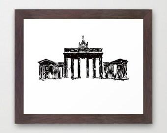 Brandenburg Gate from Berlin City Fine Art Print - Berlin city, Architecture, Brandenburg Gate, Germany