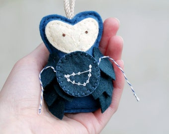 Owl Ornament CAPRICORN Constellation Plush Ornament in Midnight Blue, Felt Christmas Ornament Celestial Star Astronomy Gift for Star Gazer