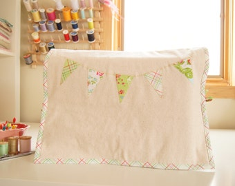 Sewing Machine Cover - Linen with Spring Floral Banner