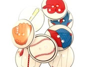 """8 Baseball Sewing Buttons for Sewing. 3/4"""" or 20 mm. Buttons for Boys."""