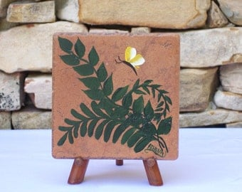 Hand Painted Tile Trivet with Green Ferns and Yellow Butterfly