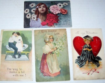 4 Antique Postcards  - Valentine, Love Themed- for Collecting, Altered Art, Scrapbooking, Crafts