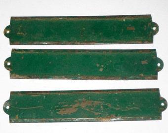 3 Vintage Green Painted Brass Industrial Label Holders