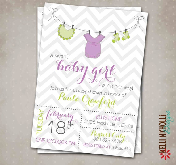 baby girl shower clothes line invitation personalized printable