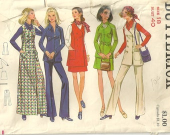 1970s Butterick 5731 Misses  Double Breasted Jumper Vest Mini Skirt Pants Shirt Pattern  Womens Vintage Sewing Pattern Size 18 Bust 40