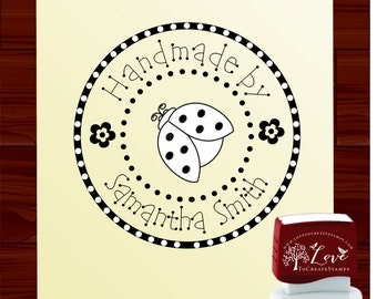 Lady Bug Custom  SELF INKING stamp handmade with love for stamping on handmade projects - style 1315