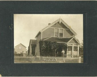 Antique Cabinet Card Photo Lady In Front Of House With Gingerbread Trim And Barn In Rear Vintage Winnipeg Manitoba Canada Photograph