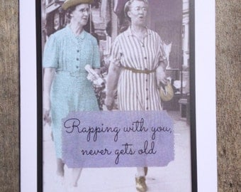 Friendship Greeting card, vintage girlfriends