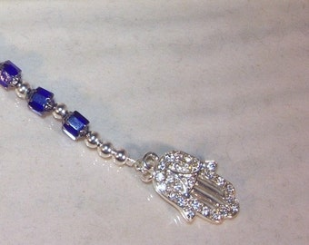 Cathedral Crystal & Silver Hamsa Necklace  - Made to Order - Shown in Sapphire / Cobalt