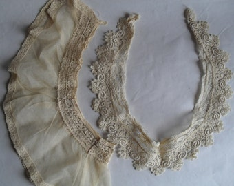 2 Lace Off White Lace Collars Vintage