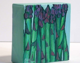 Asparagus, original acrylic painting on canvas, asparagus painting by Elisa Alvarado