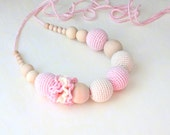 Nursing necklace Baby Pink Bridal white Valentine Day Gift Breastfeeding necklace - Teething necklace -Made to Order