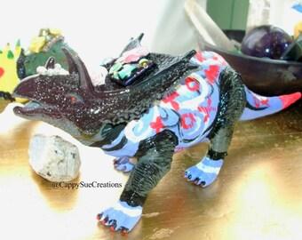 Triceratops Dinosaur punk rocker art doll