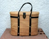 Large Vintage Woven Basket or Purse - Black Straps, Handles