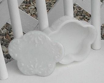 Milk Glass Box with Lid Scalloped Sides Floral Fern Design Vintage Trinket Box Desk Vanity