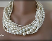 Wedding  Bold Bridal,Handmade,chunky layered ,ivory pearl ,precious  necklace.