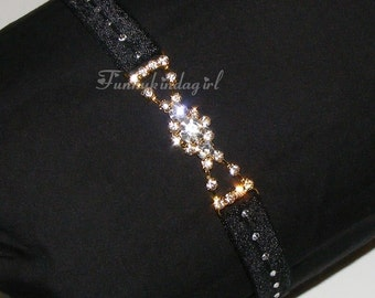 Gold Rhinestone Connector Studded Black Elastic Headband Stretch Fold over FOE Silver Buckle Available