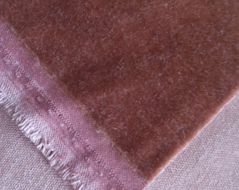 38 Inches Beautiful Mohair Fabric RUST Brown Plush Nap Pile LUXURIOUS HAND