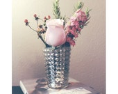 Small Hobnail Mercury Glass Vase