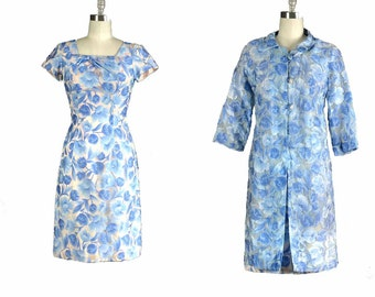 Vintage 1950s Dress / floral wiggle dress set / 50s Dress / sapphire floral wiggle dress
