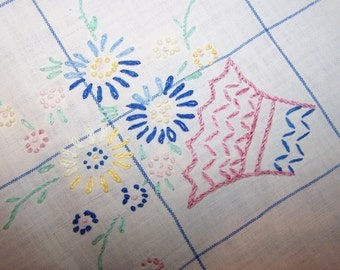 """1940's Cotton Tablecloth, Beautiful Embroidered Flower Basket, 36"""" x 29"""", Blanket Stitched Edge"""