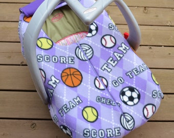 Sports Girl Car Seat Cover for Infant, Winter Baby, Lavender Argyle with Sports Motifs