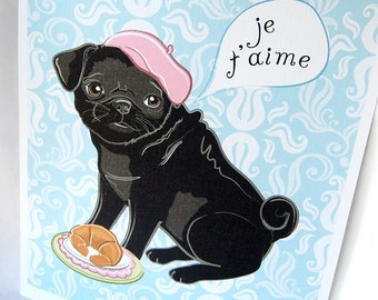 Black Pug in Paris - 8x10 Eco-friendly Print