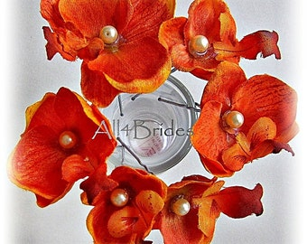 Orange orchid hair flowers, set of six orchid hair pins, bridal or bridesmaids accessories