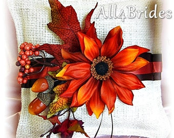 Rustic Wedding Burlap Ring Bearer Pillow, Fall leaves burlap ring pillow, ivory, burnt orange and chocolate brown