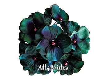 Teal and purple flower hair pins, bridal or bridesmaids hair accessories, set of six hydrangea hair pins.
