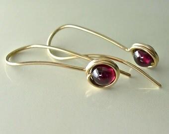 Red Garnet Gold Earrings, Garnet 14K Gold-filled Drop Earrings, 5mm Gemstone Drops, Modern Minimalist Earrings, January Birthstone