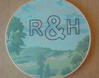 Personalized Embroidered Initials on Scenic Paint by Number Fabric Hoop