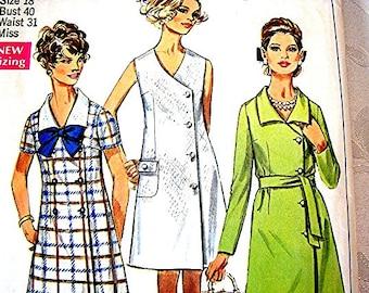 1960s Dress Pattern Simplicity Misses plus size 18 Bust 40 Womens Dress Vintage Sewing Pattern