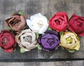 50% OFF SALE - buttercup bud hair flower clips - mocha, winter white, spice, brick, latte, plum, golden and lavender