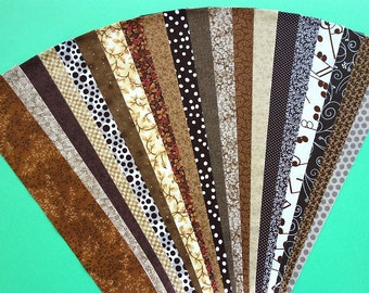 Fabric Brown Beige Ecru Cotton Jelly Roll Quilting Strip Pack Material Die Cut 20 Strips No Dups (sku JR120-BRWNgd)