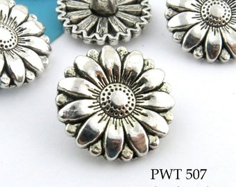 Sunflower Pewter Button 17mm Antiqued Silver (PWT 507) 6 pcs BlueEchoBeads