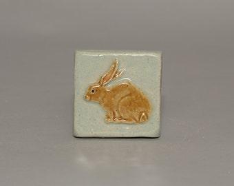 Handmade 3x3 ceramic rabbit tile