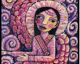 Ministering Angel, Mixed Media Folk Art Original 10 X 12 wood panel, modern contemporary, primitive raw folk art