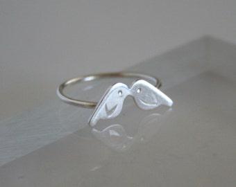 Silver Kissing Baby Birds Ring, Love Birds, Silver birds, Gift For Her, Silver RIng, Metalwork, Handmade Ring